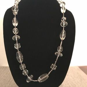 J Crew faceted clear acrylic bead ribbon necklace